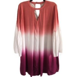 SHE & SKY ombré colorblock boho dress M